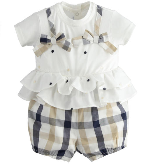 100% cotton romper with white top with polka dot embroidery and double ruffles at the waist for baby girl from 0 to 24 months Minibanda NAVY-3854