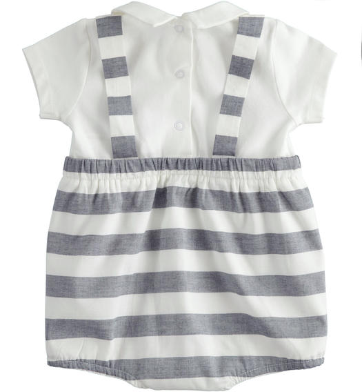 Short-sleeved cotton baby boy romper with faux striped suspenders for babies from 0 to 24 months Minibanda NAVY-3854
