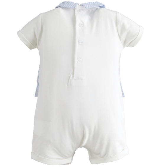 Newborn boy stretch cotton short-sleeved romper for baby boy from 0 to 24 months Minibanda SKY-5818