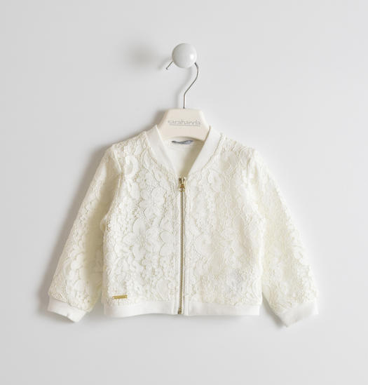 Pretty lace embroidered sweatshirt for baby girls from 6 months to 7 years Sarabanda PANNA-0112