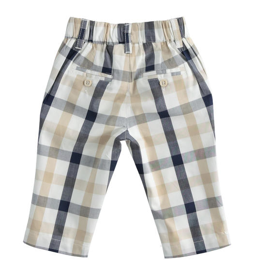 100% cotton newborn boy trousers with elegant check pattern for baby boy from 0 to 24 months Minibanda NAVY-3854