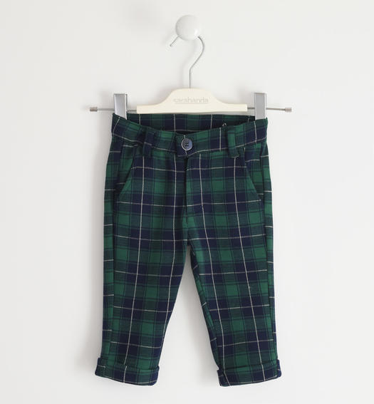 Classic style check trousers for boy from 6 months to 7 years Sarabanda VERDE-4726