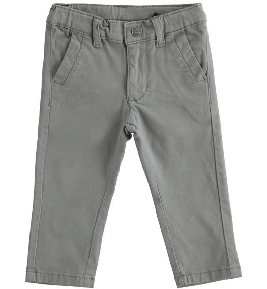 Classic stretch twill trousers for boy from 6 months to 7 years Sarabanda GRIGIO SCURO-0564
