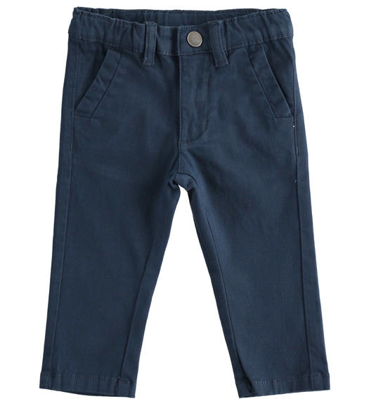 Classic stretch twill trousers for boy from 6 months to 7 years Sarabanda NAVY-3885