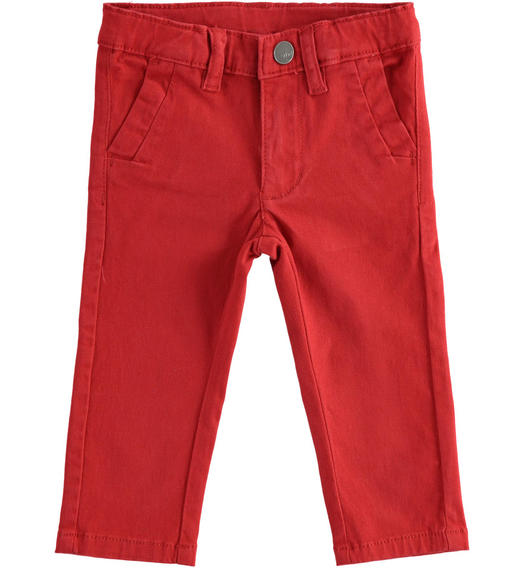 Classic stretch twill trousers for boy from 6 months to 7 years Sarabanda ROSSO-2536