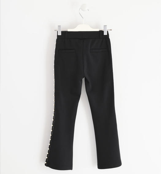 Trousers in Milano stitch with side band made of grosgrain for girls from 6 to 16 years Sarabanda NERO-0658
