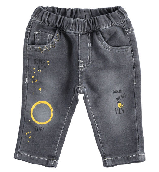 Trousers with knitted denin prints for newborn boy from 0 to 24 months Minibanda GRIGIO CHIARO-7992
