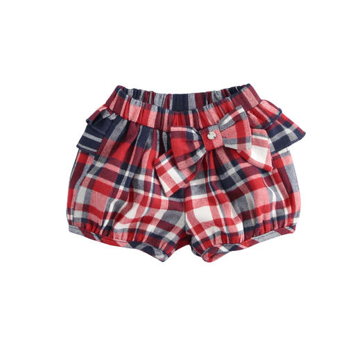 Checkered short trousers with gathered ruffles for newborn from 0 to 24 months Minibanda ROSSO-2253