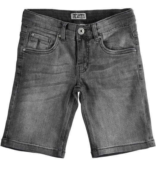 iDO denim short trousers for boy from 6 to 16 years old GRIGIO CHIARO-7992