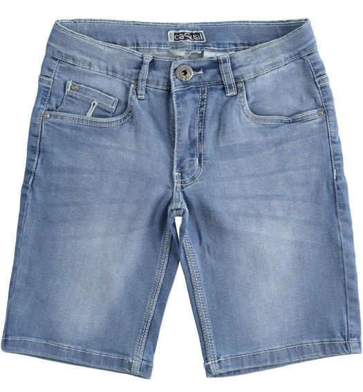 iDO denim short trousers for boy from 6 to 16 years old STONE BLEACH-7350