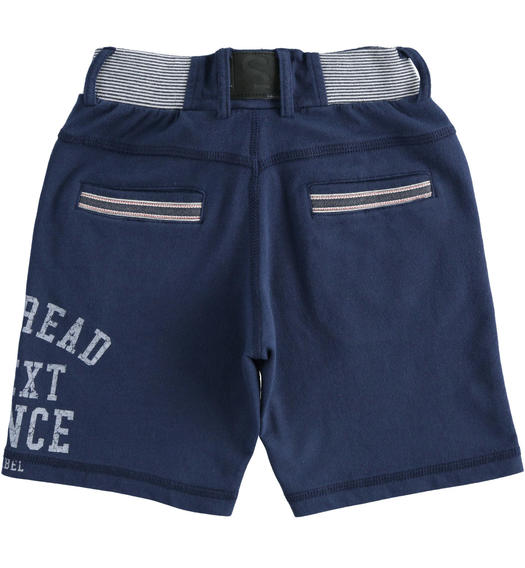 100% lightweight cotton fleece short trousers with a print on the back for boy from 6 to 16 years Sarabanda NAVY-3854