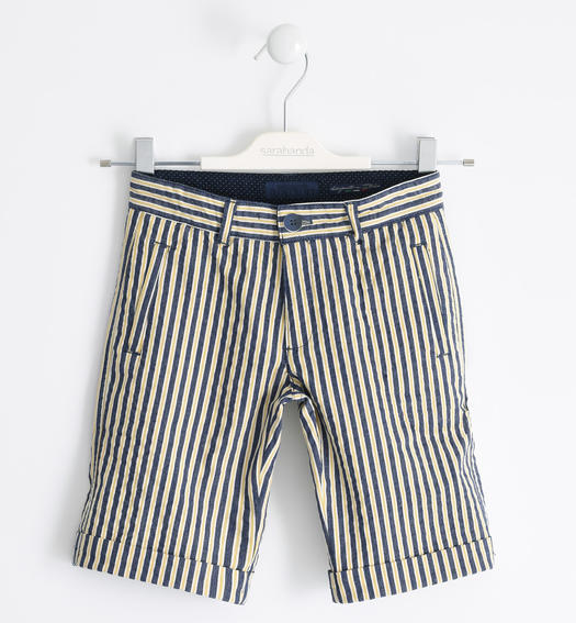 Sarabanda short stretch striped poplin trousers for boy from 6 to 16 years OCRA-1536