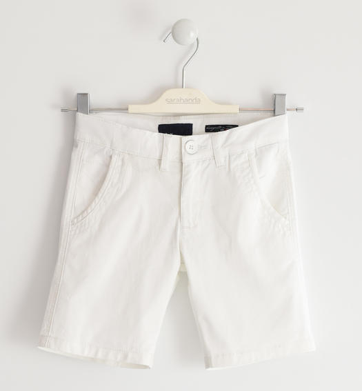 Sarabanda shorts in stretch cotton twill for boy from 6 months to 16 years BIANCO-0113