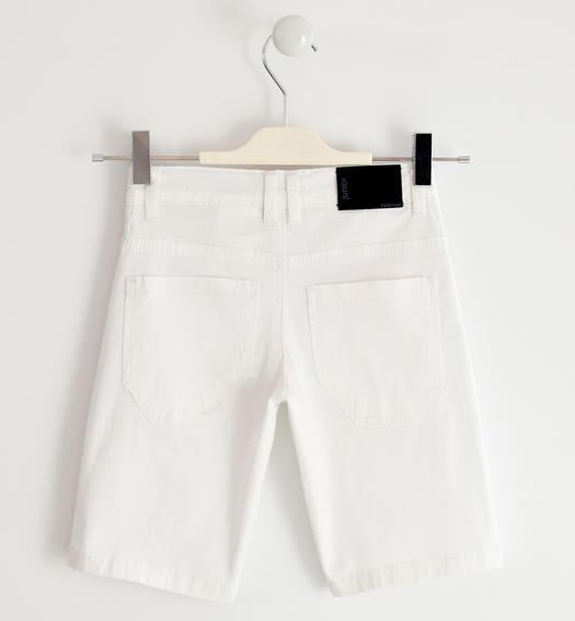 Sarabanda short trousers in stretch cotton twill for boy from 6 months to 16 years BIANCO-0113