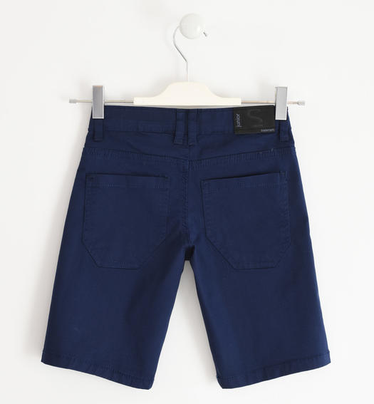 Sarabanda short trousers in stretch cotton twill for boy from 6 months to 16 years NAVY-3854