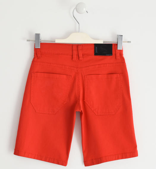 Sarabanda short trousers in stretch cotton twill for boy from 6 months to 16 years ROSSO-2235