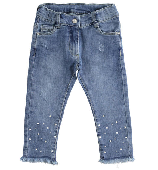 Sarabanda denim trousers with pearls and rhinestones for girl from 6 months to 7 years STONE WASHED-7450