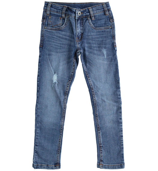Denim trousers with tears for boy from 6 to 16 years Sarabanda STONE WASHED-7450