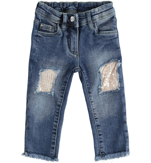 Denim trousers with sequin patches for girl from 6 to 7 years Sarabanda STONE WASHED-7450