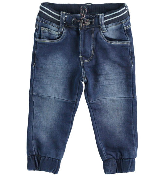 Jogger model knitted denim trousers for boy from 6 months to 7 years Sarabanda NAVY-7775