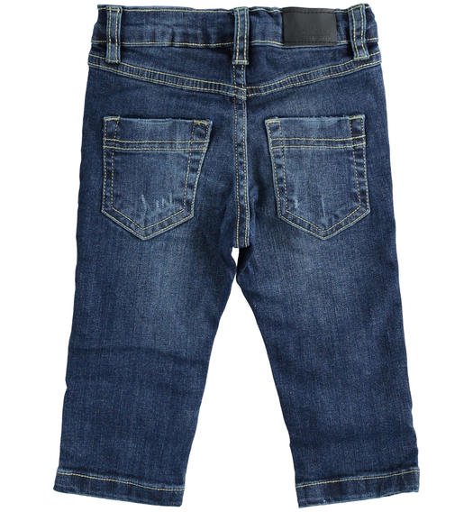 Stretch denim trousers with rips for boy from 6 months to 7 years Sarabanda NAVY-7775
