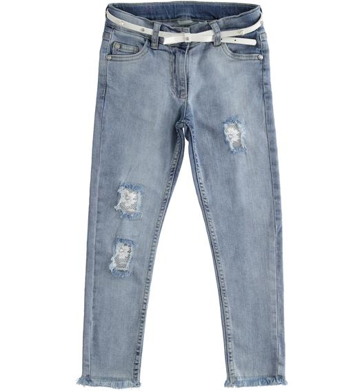 Sarabanda stretch denim trousers with lace for girl from 6 to 16 years BLU CHIARO LAVATO-7310