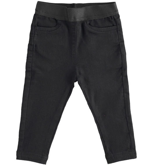 Super stretch denim trousers with tape at the waist for girl from 6 months to 7 years Sarabanda NERO-0658