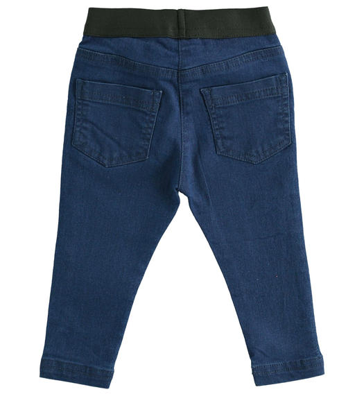 Super stretch denim trousers with tape at the waist for girl from 6 months to 7 years Sarabanda STONE WASHED-7450