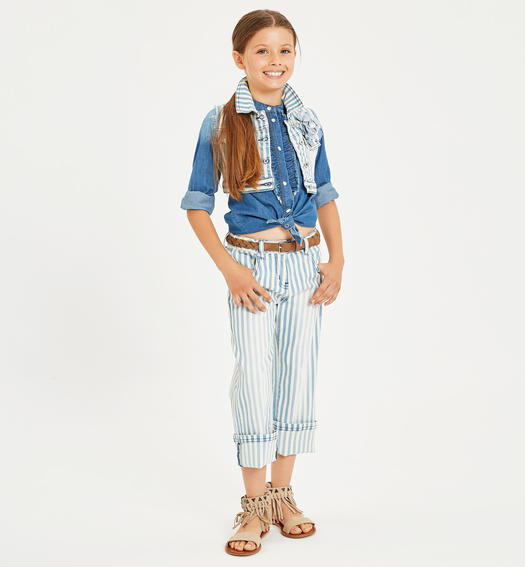 Trousers made of cotton drill in sunbed-like stripe pattern for girl from 6 to 16 years Sarabanda PANNA-0112