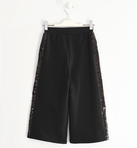 Fleece trousers with sequins for girl from 6 to 16 years Sarabanda NERO-0658