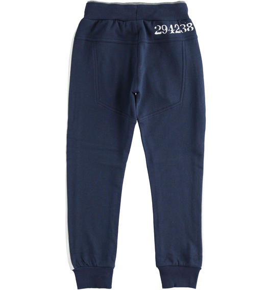 Fleece trousers with numerical print for boy from 6 to 16 years Sarabanda NAVY-3854