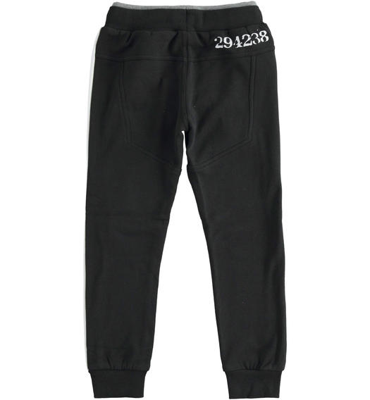 Fleece trousers with numerical print for boy from 6 to 16 years Sarabanda NERO-0658