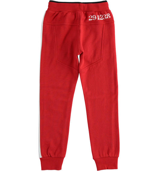 Fleece trousers with numerical print for boy from 6 to 16 years Sarabanda ROSSO-2253