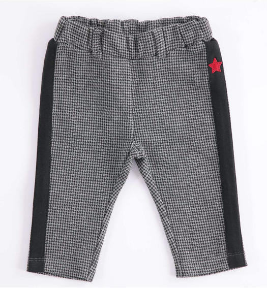 Fleece newborn trousers with hounds-tooth print from 0 to 24 months Minibanda GRIGIO MELANGE-8993