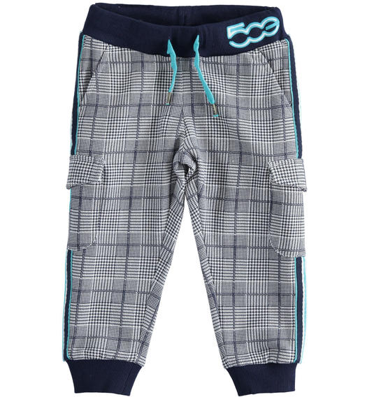 "Fleece trousers with ""Sarabanda interprets 500e"" big pockets for boy from 6 months to 7 years Sarabanda BIANCO-BLU-6QB4"