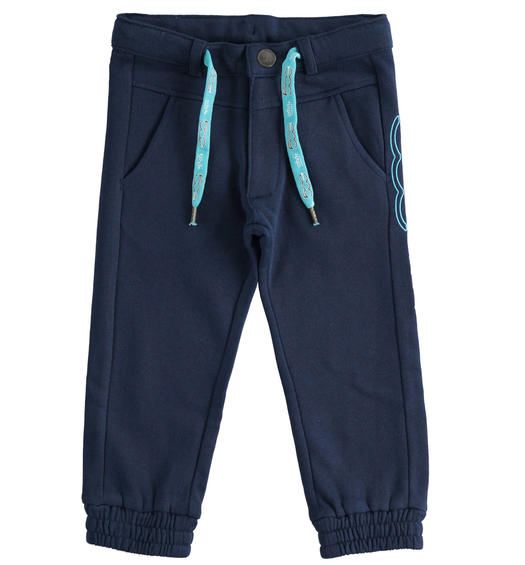 """Sarabanda interprets 500e"" organic cotton fleece trousers for boy from 6 months to 7 years Sarabanda NAVY-3854"
