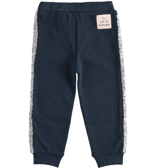"Organic cotton fleece trousers with sequins ""Sarabanda interprets 500e"" for girl from 6 months to 7 years Sarabanda NAVY-3885"