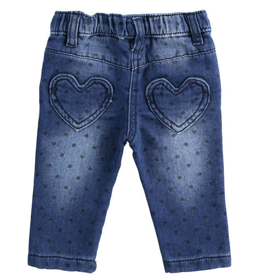 Denim effect fleece trousers with hearts and polka dots for newborn girl from 0 to 24 months Minibanda AZZURRO-NAVY-6NS3