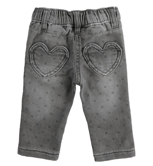 Denim effect fleece trousers with hearts and polka dots for newborn girl from 0 to 24 months Minibanda GRIGIO-ANTRACITE-6NS2