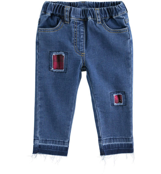Denim effect fleece trousers with check patches for newborn girl from 0 to 24 months Minibanda STONE WASHED-7450