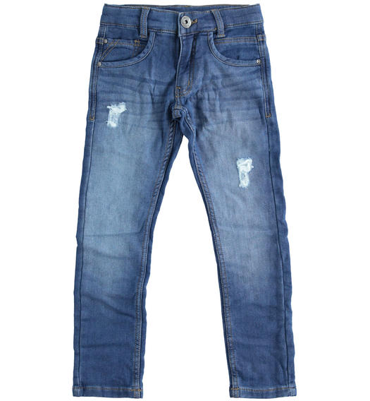 Fleece denim effect trousers for boy from 6 to 16 years Sarabanda STONE WASHED-7450