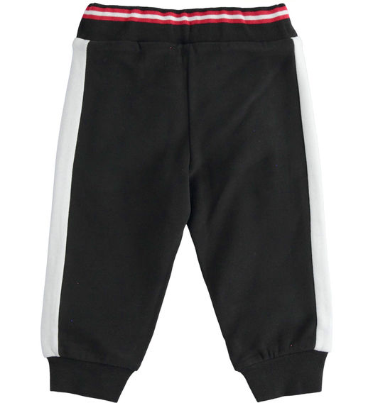 Brushed fleece trousers with side bands for boy from 6 months to 7 years Sarabanda NERO-0658