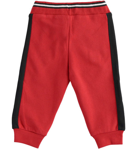 Brushed fleece trousers with side bands for boy from 6 months to 7 years Sarabanda ROSSO-2253
