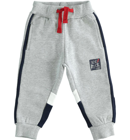 Brushed fleece trousers with color blocks for baby boys from 6 months to 7 years Sarabanda GRIGIO MELANGE-8992