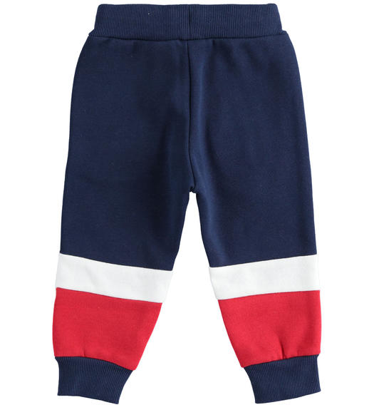 Brushed fleece trousers with color blocks for baby boys from 6 months to 7 years Sarabanda NAVY-3854
