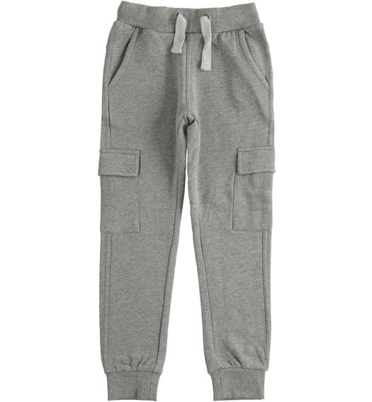 Cargo model fleece trousers with large pockets for boy from 6 to 16 years Sarabanda GRIGIO MELANGE-8993