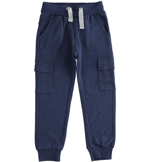 Cargo model fleece trousers with large pockets for boy from 6 to 16 years Sarabanda NAVY-3854