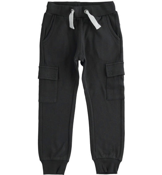 Cargo model fleece trousers with large pockets for boy from 6 to 16 years Sarabanda NERO-0658