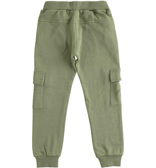 Cargo model fleece trousers with large pockets for boy from 6 to 16 years Sarabanda VERDE SALVIA-4951