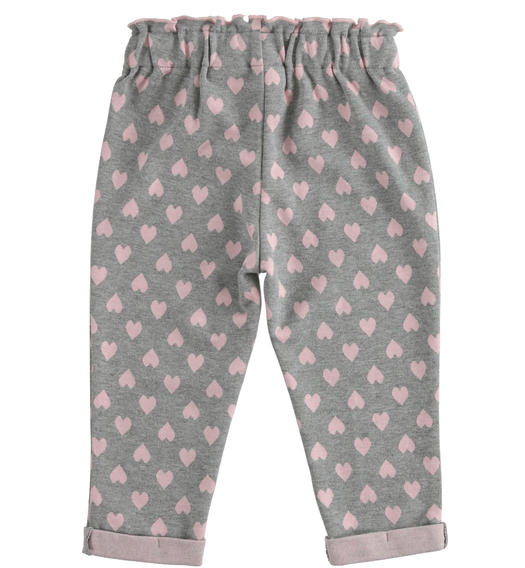 Knitted trousers with hearts pattern for girl from 6 months to 7 years Sarabanda GRIGIO MELANGE-8867